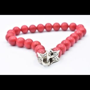 David Yurman red coral beaded bracelet 8.5